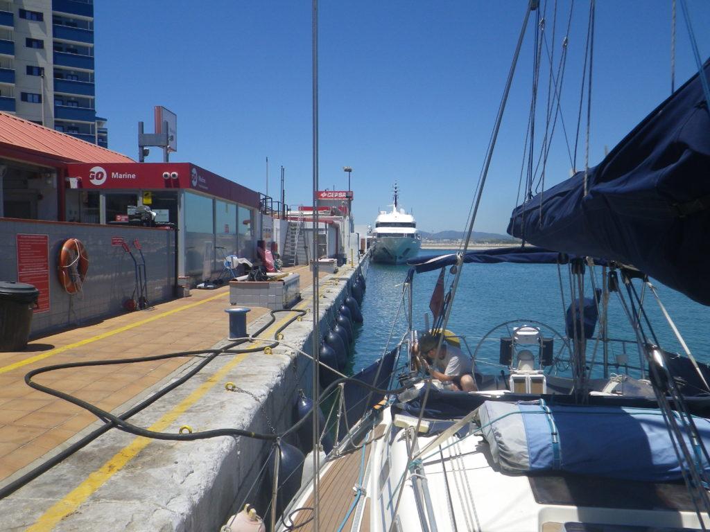 Sailboat at fuel quay Gibraltar