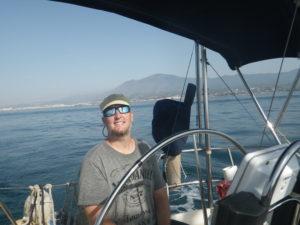 Man in sunglasses on boat