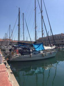 Sailboat in marina