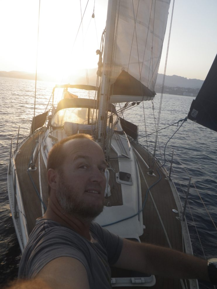 selfie met zonsondergang
