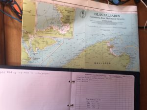 Ship's logbook and chart